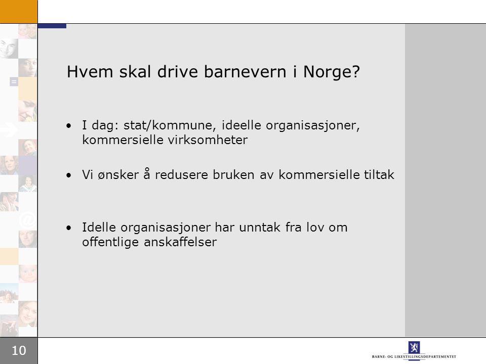 10 Hvem skal drive barnevern i Norge.