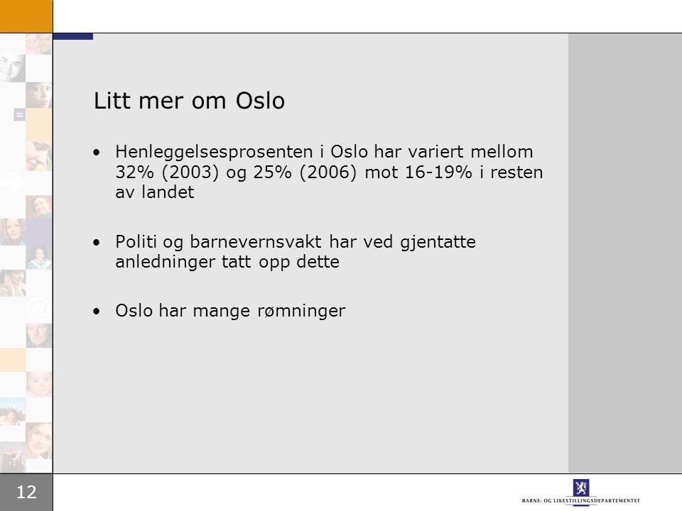12 Litt mer om Oslo Henleggelsesprosenten i Oslo har variert mellom 32% (2003) og 25% (2006) mot 16-19% i resten av landet Politi og barnevernsvakt har ved gjentatte anledninger tatt opp dette Oslo har mange rømninger