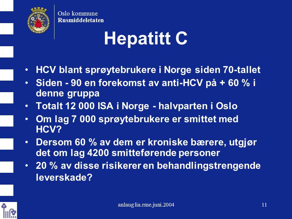 anlaug lia.rme.juni.200411 Oslo kommune Rusmiddeletaten Hepatitt C HCV blant sprøytebrukere i Norge siden 70-tallet Siden - 90 en forekomst av anti-HCV på + 60 % i denne gruppa Totalt 12 000 ISA i Norge - halvparten i Oslo Om lag 7 000 sprøytebrukere er smittet med HCV.