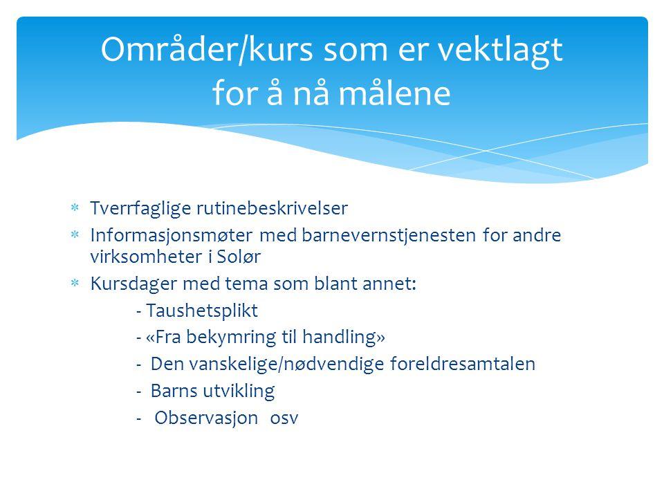  Tverrfaglige rutinebeskrivelser  Informasjonsmøter med barnevernstjenesten for andre virksomheter i Solør  Kursdager med tema som blant annet: - T