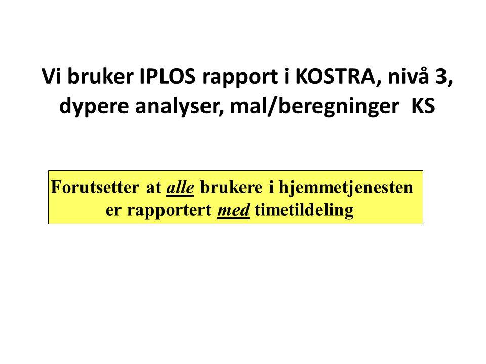 Vi bruker IPLOS rapport i KOSTRA, nivå 3, dypere analyser, mal/beregninger KS Forutsetter at alle brukere i hjemmetjenesten er rapportert med timetild