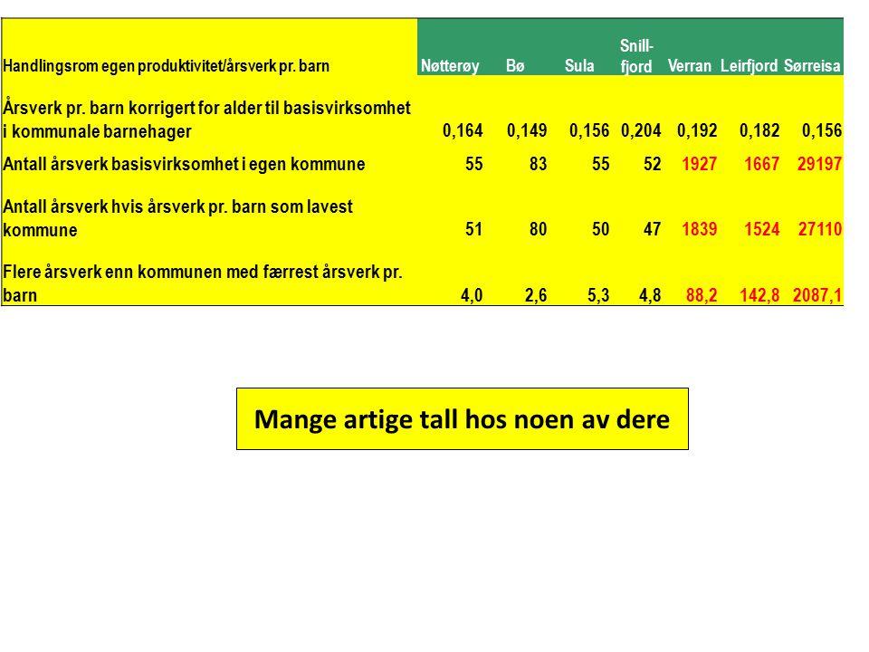 Handlingsrom egen produktivitet/årsverk pr. barnNøtterøyBøSula Snill- fjordVerranLeirfjordSørreisa Årsverk pr. barn korrigert for alder til basisvirks