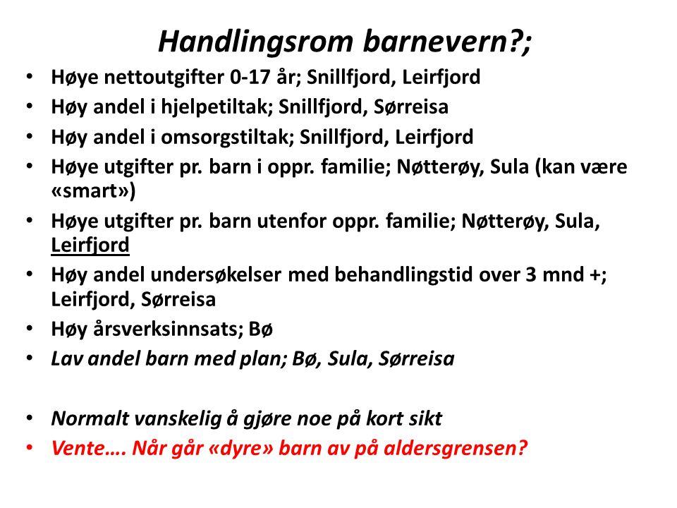 Handlingsrom barnevern?; Høye nettoutgifter 0-17 år; Snillfjord, Leirfjord Høy andel i hjelpetiltak; Snillfjord, Sørreisa Høy andel i omsorgstiltak; S