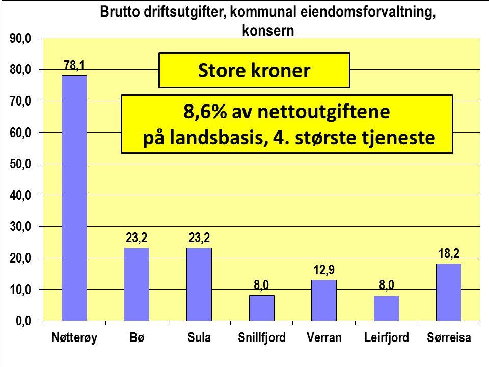 Store kroner 8,6% av nettoutgiftene på landsbasis, 4. største tjeneste