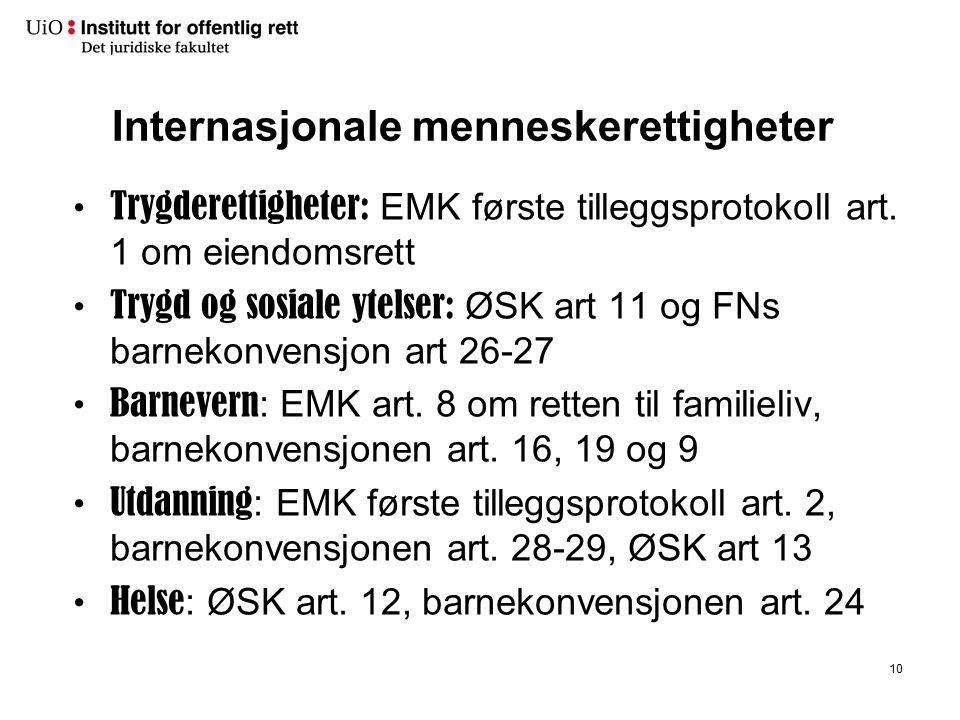 Internasjonale menneskerettigheter Trygderettigheter: EMK første tilleggsprotokoll art. 1 om eiendomsrett Trygd og sosiale ytelser: ØSK art 11 og FNs