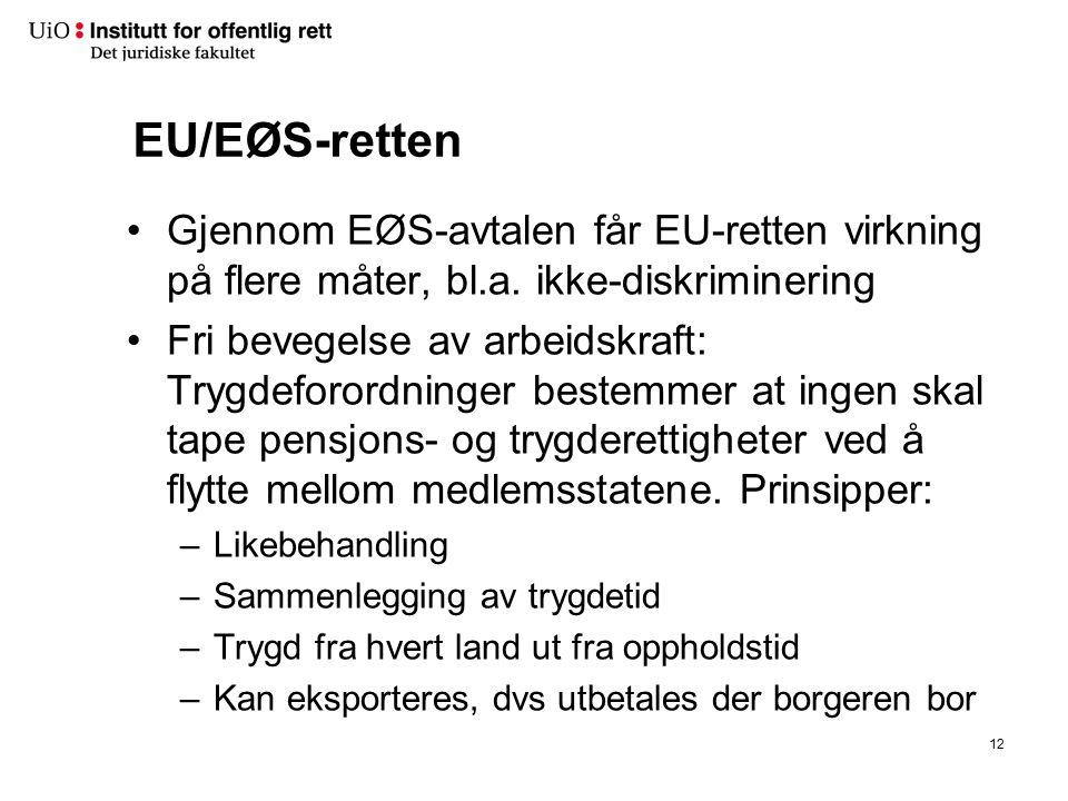 EU/EØS-retten Gjennom EØS-avtalen får EU-retten virkning på flere måter, bl.a. ikke-diskriminering Fri bevegelse av arbeidskraft: Trygdeforordninger b