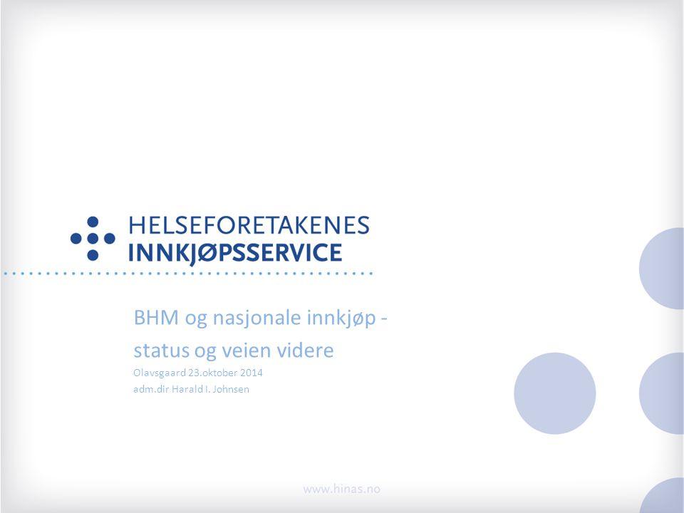 BHM og nasjonale innkjøp - status og veien videre Olavsgaard 23.oktober 2014 adm.dir Harald I.