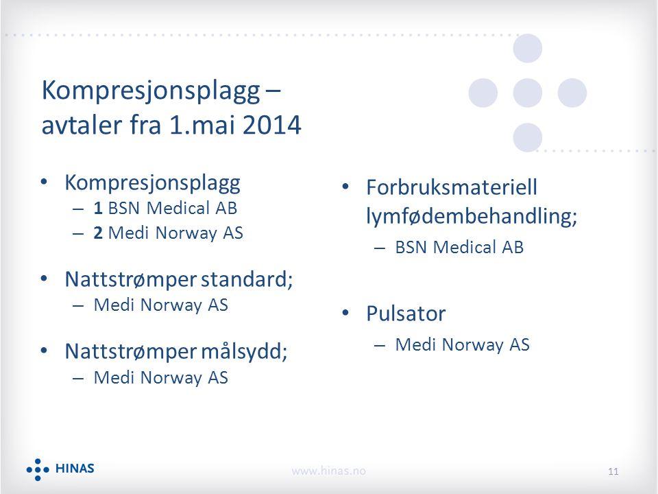 Kompresjonsplagg – 1 BSN Medical AB – 2 Medi Norway AS Nattstrømper standard; – Medi Norway AS Nattstrømper målsydd; – Medi Norway AS Forbruksmateriell lymfødembehandling; – BSN Medical AB Pulsator – Medi Norway AS 11 Kompresjonsplagg – avtaler fra 1.mai 2014