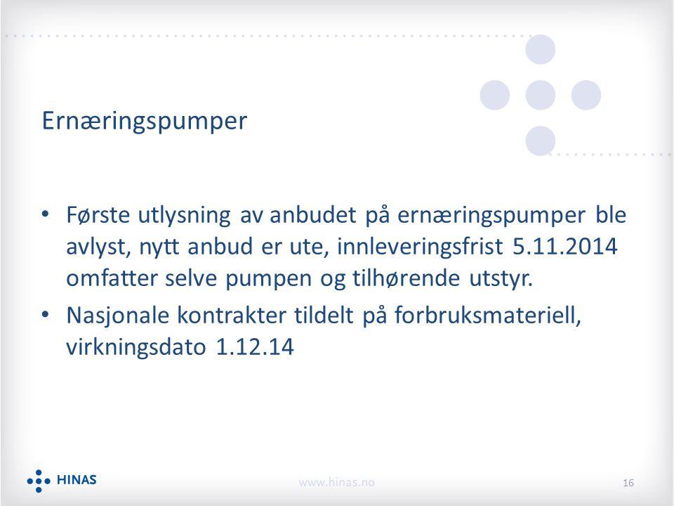 Ernæringspumper Første utlysning av anbudet på ernæringspumper ble avlyst, nytt anbud er ute, innleveringsfrist 5.11.2014 omfatter selve pumpen og tilhørende utstyr.