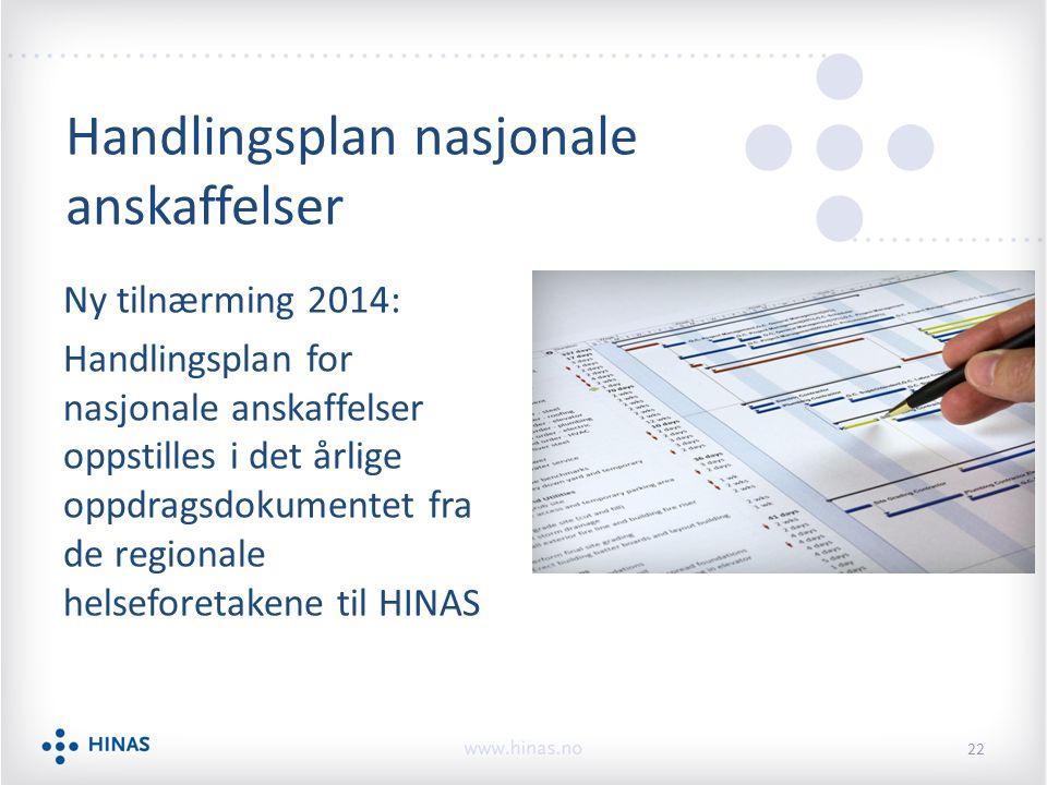 Ny tilnærming 2014: Handlingsplan for nasjonale anskaffelser oppstilles i det årlige oppdragsdokumentet fra de regionale helseforetakene til HINAS 22 Handlingsplan nasjonale anskaffelser