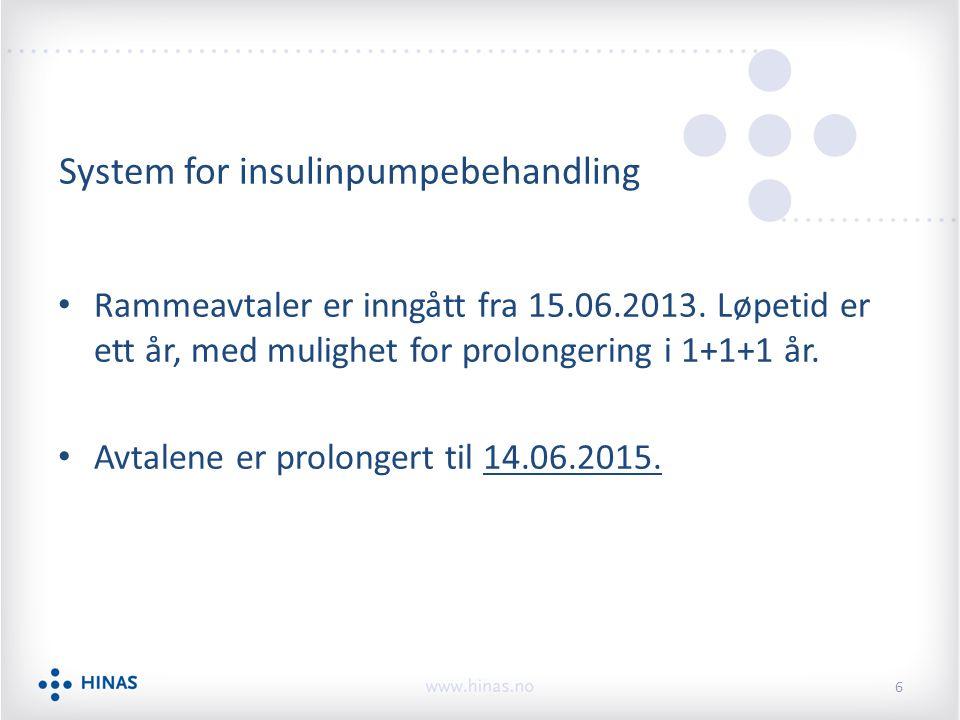 System for insulinpumpebehandling Rammeavtaler er inngått fra 15.06.2013.