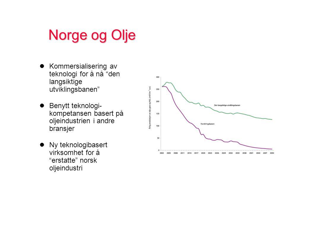 Kommersialisering av teknologi for å nå den langsiktige utviklingsbanen Benytt teknologi- kompetansen basert på oljeindustrien i andre bransjer Ny teknologibasert virksomhet for å erstatte norsk oljeindustri
