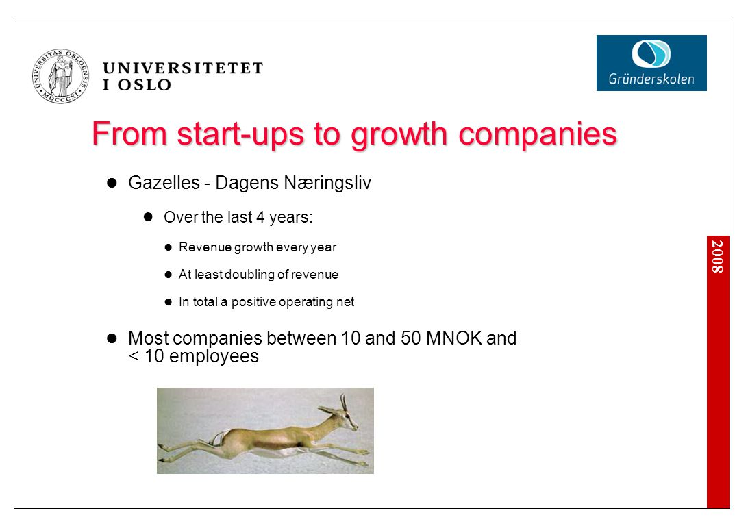 2008 From start-ups to growth companies Gazelles - Dagens Næringsliv Over the last 4 years: Revenue growth every year At least doubling of revenue In total a positive operating net Most companies between 10 and 50 MNOK and < 10 employees
