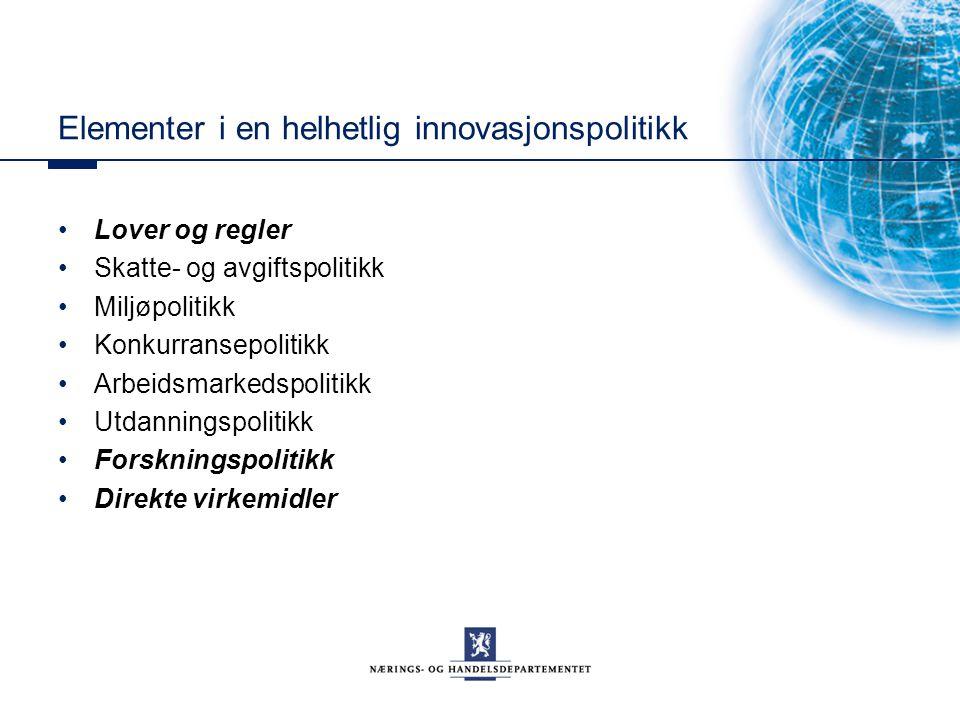 Elementer i en helhetlig innovasjonspolitikk Lover og regler Skatte- og avgiftspolitikk Miljøpolitikk Konkurransepolitikk Arbeidsmarkedspolitikk Utdan