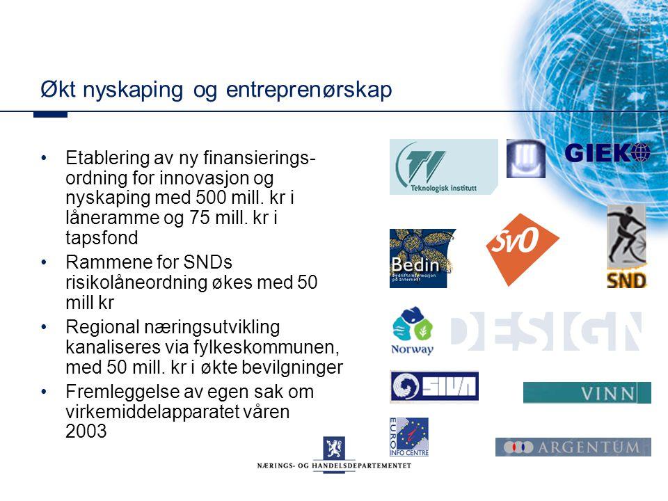 Økt nyskaping og entreprenørskap Etablering av ny finansierings- ordning for innovasjon og nyskaping med 500 mill. kr i låneramme og 75 mill. kr i tap