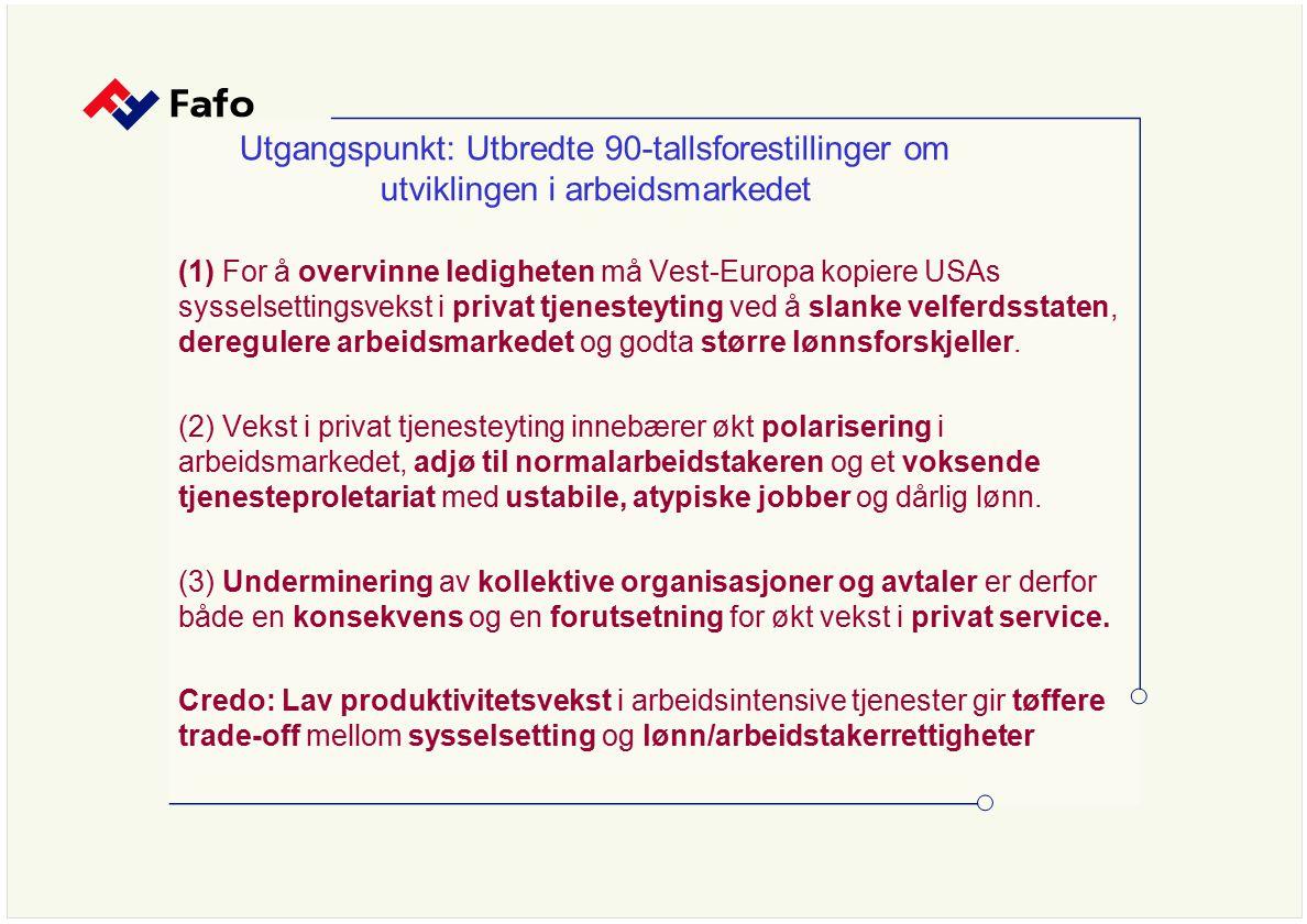Utgangspunkt: Utbredte 90-tallsforestillinger om utviklingen i arbeidsmarkedet (1) For å overvinne ledigheten må Vest-Europa kopiere USAs sysselsettin