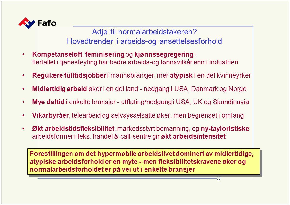 Kan partene snu trenden – eksempler på fornyelse av avtalesystemene i Europa * à la carte-avtaler i Holland, skreddersøm-avtaler, økt dekning i transport avtaler for vikarfirma, call-centra, kvasi-selvstendige og 'teleworkers' fransk avtale om arbeidsvilkår for 'free-lansere' i nye bransjer for å sikre arbeidsgiverne forutsigbar fleksibilitet og autonomi ifht lovgivning territorielle avtaler for små servicebedrifter i Italia Desentralisering, åpningsklausuler og lokale sysselsettingspakter Partnership-avtaler i britiske banker & varehus, økt dekning i irsk handel IKT-sektoren - spredning av 'Works Councils' og kollektivavtaler i flere land, 62% dekningsgrad i svensk IKT-sektor - halvering Telenor….