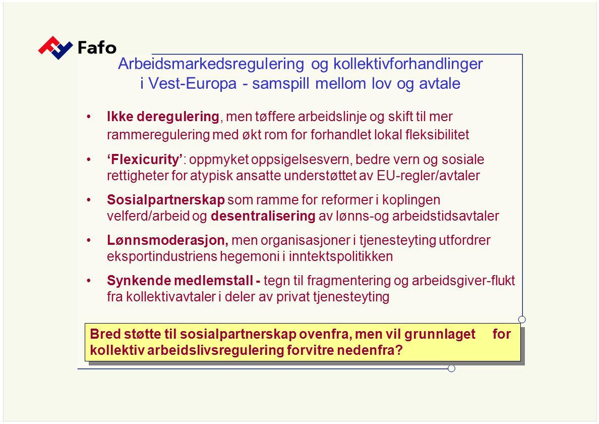 Arbeidsmarkedsregulering og kollektivforhandlinger i Vest-Europa - samspill mellom lov og avtale Ikke deregulering, men tøffere arbeidslinje og skift