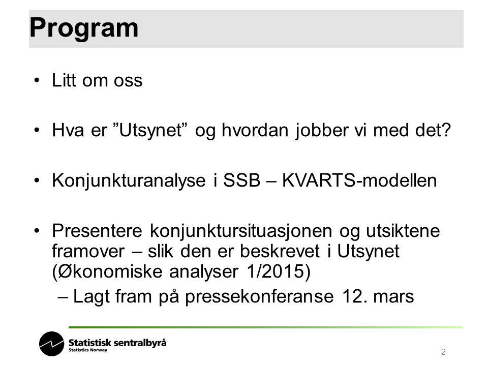 """2 Program Litt om oss Hva er """"Utsynet"""" og hvordan jobber vi med det? Konjunkturanalyse i SSB – KVARTS-modellen Presentere konjunktursituasjonen og uts"""