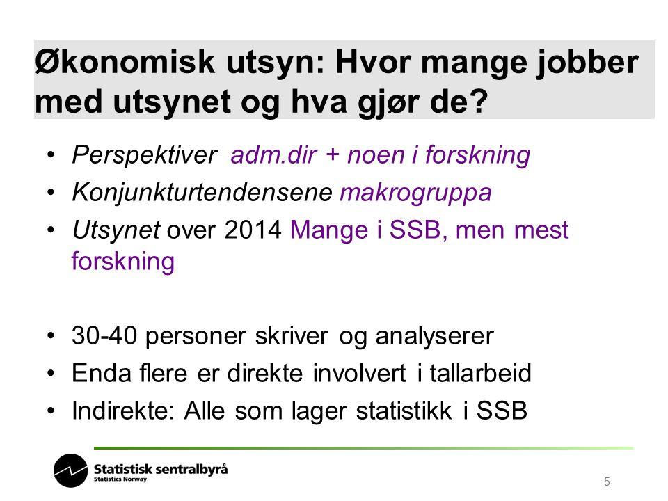 5 Økonomisk utsyn: Hvor mange jobber med utsynet og hva gjør de? Perspektiver adm.dir + noen i forskning Konjunkturtendensene makrogruppa Utsynet over