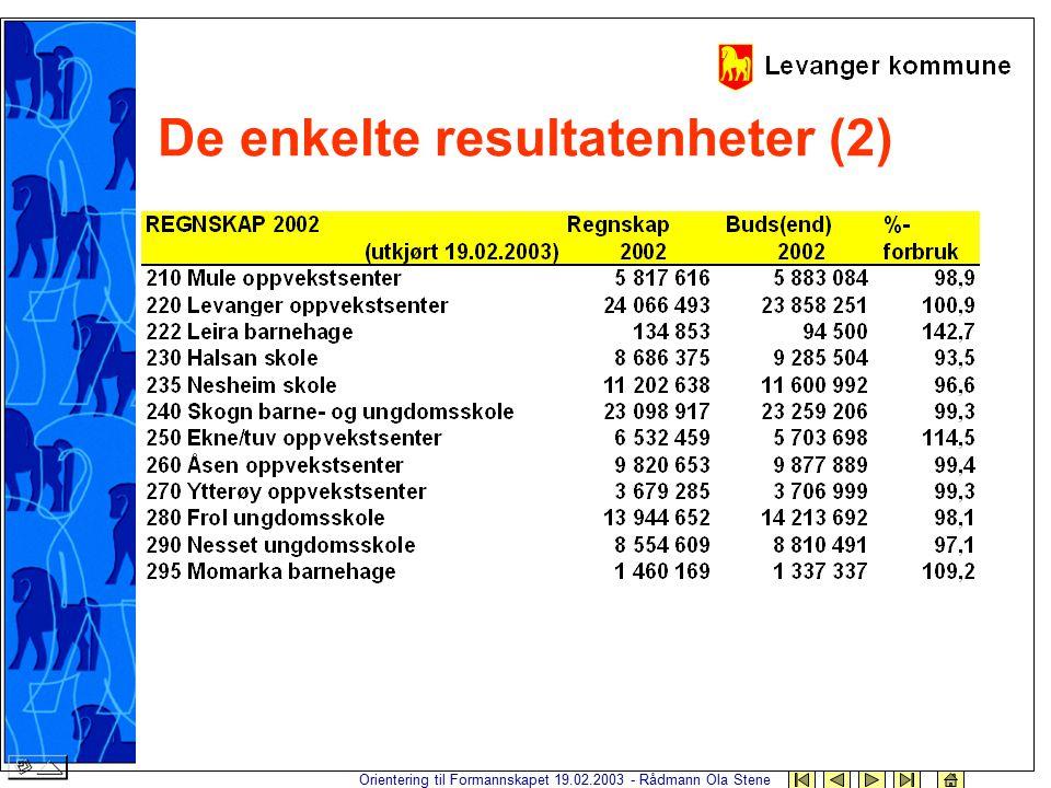 Orientering til Formannskapet 19.02.2003 - Rådmann Ola Stene De enkelte resultatenheter (2)