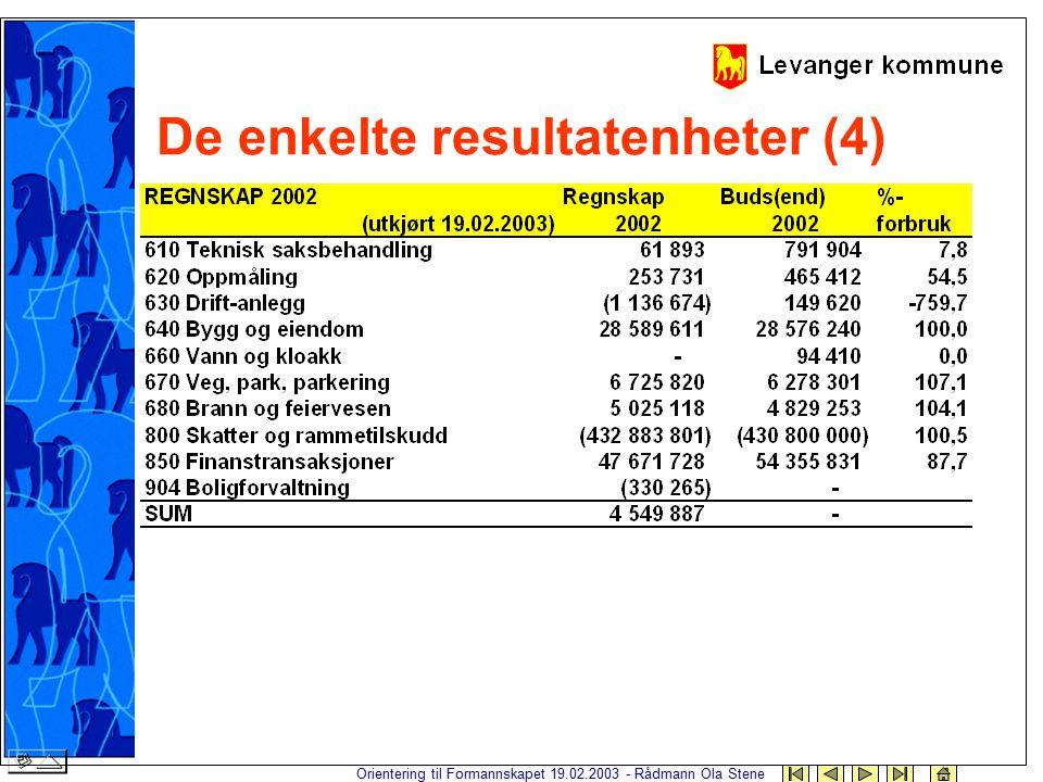 Orientering til Formannskapet 19.02.2003 - Rådmann Ola Stene De enkelte resultatenheter (4)