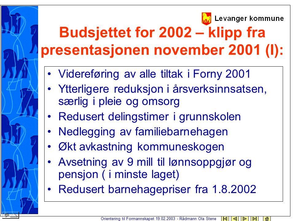 Orientering til Formannskapet 19.02.2003 - Rådmann Ola Stene Budsjettet for 2002 – klipp fra presentasjonen november 2001 (I): Videreføring av alle ti