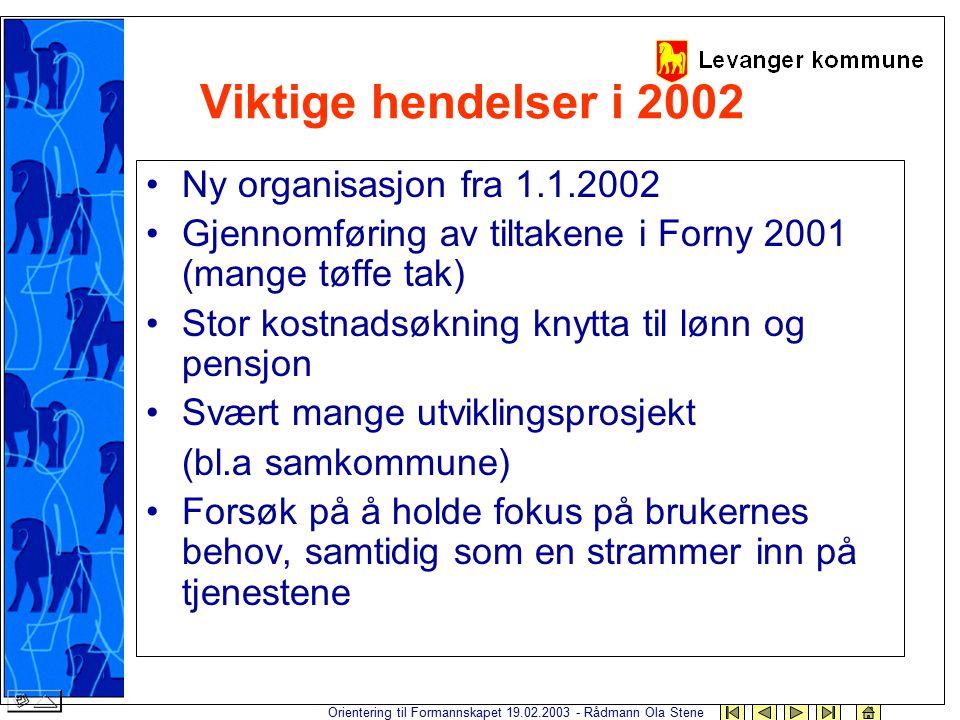 Orientering til Formannskapet 19.02.2003 - Rådmann Ola Stene Viktige hendelser i 2002 Ny organisasjon fra 1.1.2002 Gjennomføring av tiltakene i Forny