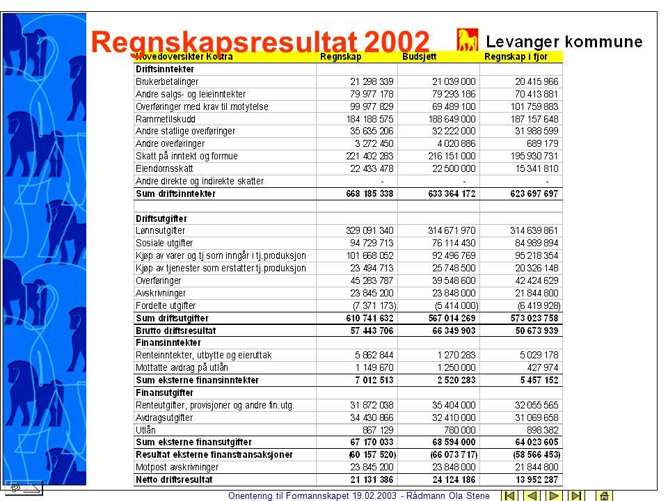 Orientering til Formannskapet 19.02.2003 - Rådmann Ola Stene Regnskapsresultat 2002