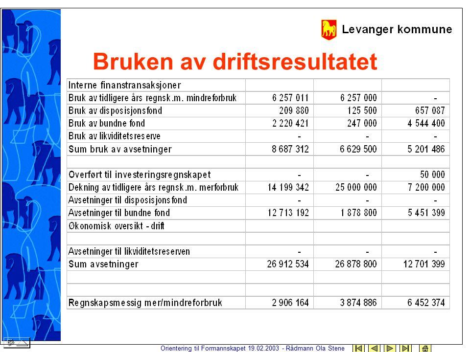 Orientering til Formannskapet 19.02.2003 - Rådmann Ola Stene Bruken av driftsresultatet