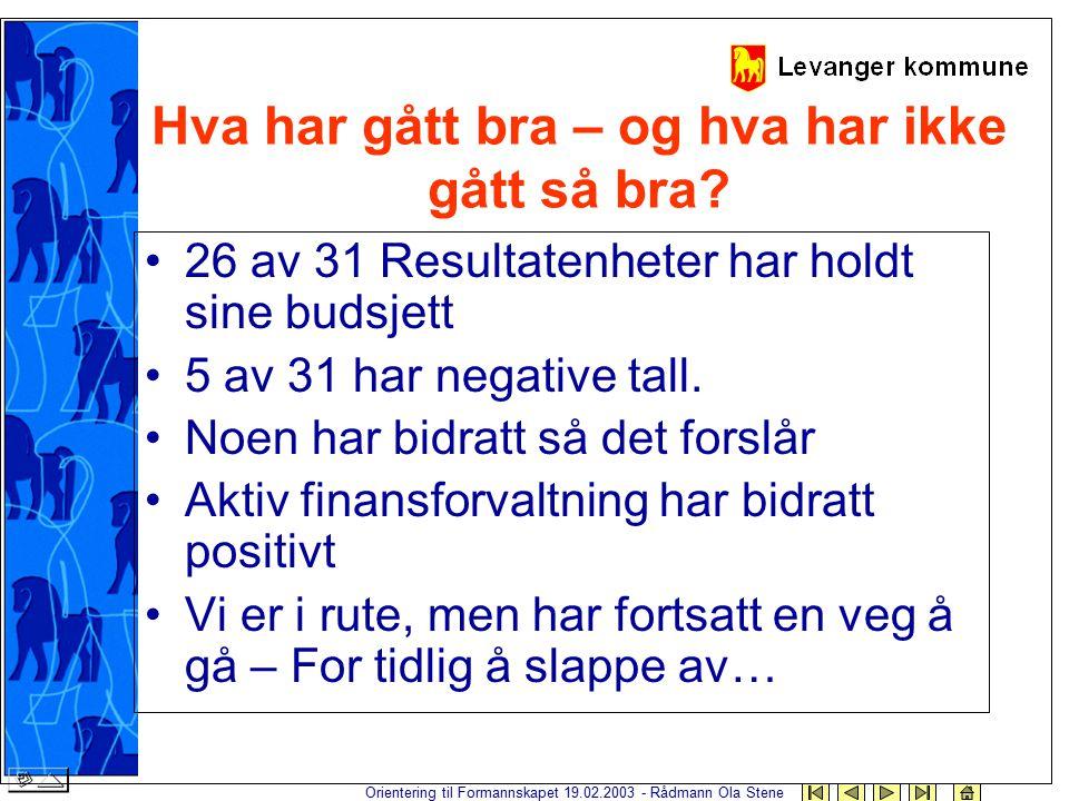Orientering til Formannskapet 19.02.2003 - Rådmann Ola Stene Hva har gått bra – og hva har ikke gått så bra? 26 av 31 Resultatenheter har holdt sine b