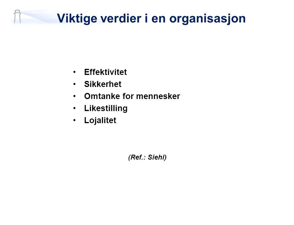 Viktige verdier i en organisasjon Effektivitet Sikkerhet Omtanke for mennesker Likestilling Lojalitet (Ref.: Siehl)