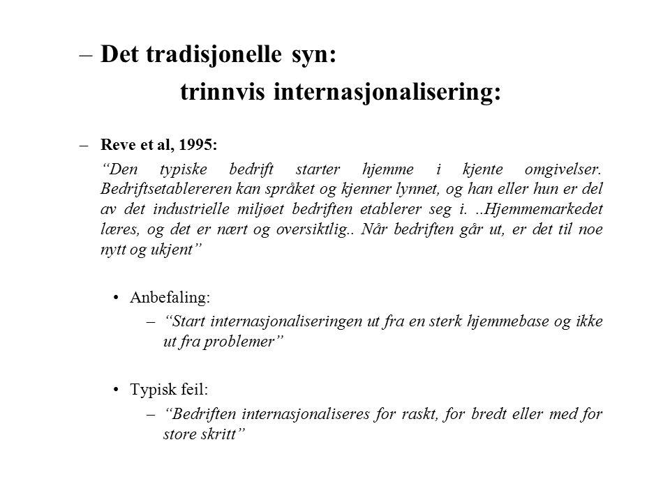 –Det tradisjonelle syn: trinnvis internasjonalisering: –Reve et al, 1995: Den typiske bedrift starter hjemme i kjente omgivelser.
