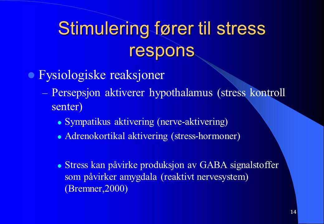 14 Stimulering fører til stress respons Fysiologiske reaksjoner – Persepsjon aktiverer hypothalamus (stress kontroll senter) Sympatikus aktivering (nerve-aktivering) Adrenokortikal aktivering (stress-hormoner) Stress kan påvirke produksjon av GABA signalstoffer som påvirker amygdala (reaktivt nervesystem) (Bremner,2000)