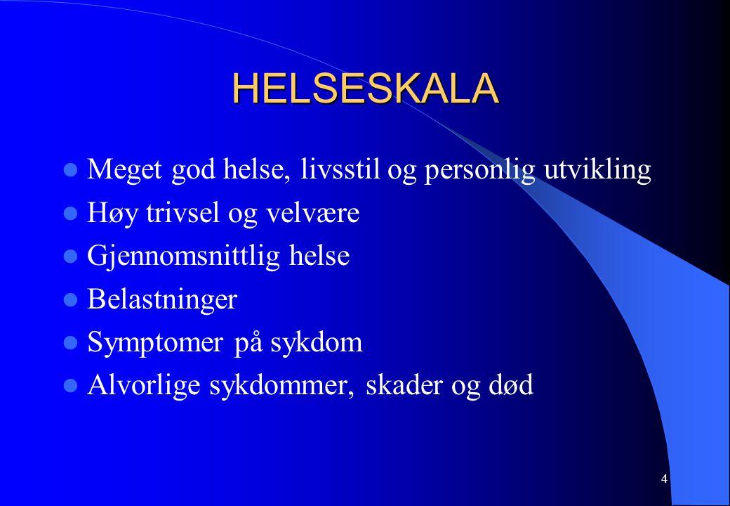 4 HELSESKALA Meget god helse, livsstil og personlig utvikling Høy trivsel og velvære Gjennomsnittlig helse Belastninger Symptomer på sykdom Alvorlige sykdommer, skader og død