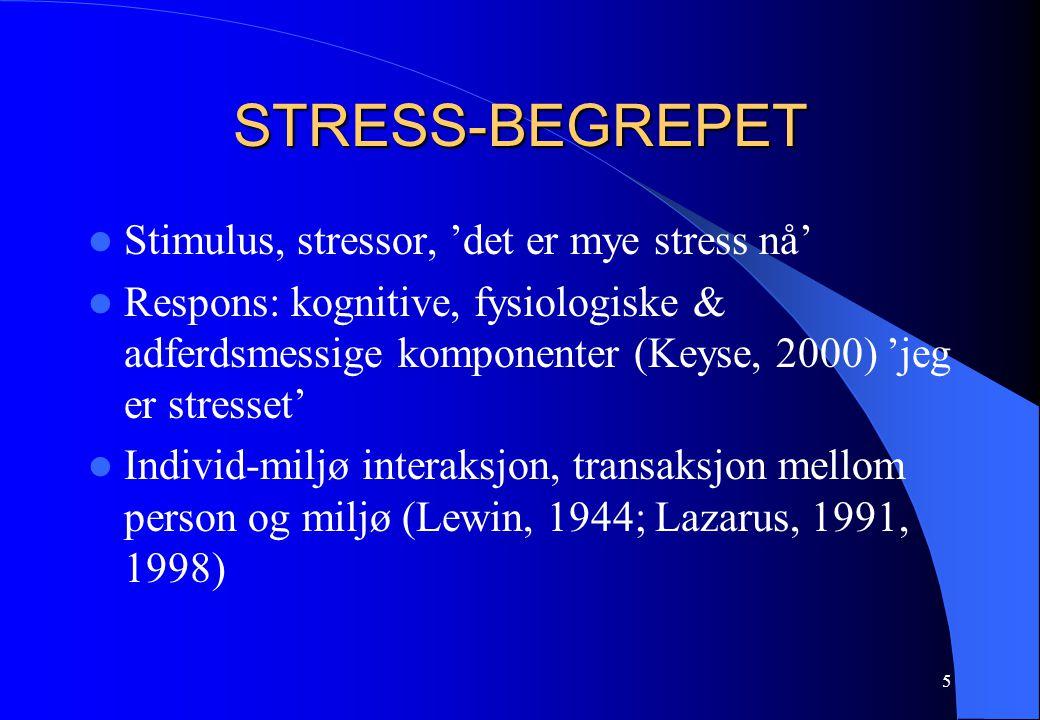 5 STRESS-BEGREPET Stimulus, stressor, 'det er mye stress nå' Respons: kognitive, fysiologiske & adferdsmessige komponenter (Keyse, 2000) 'jeg er stresset' Individ-miljø interaksjon, transaksjon mellom person og miljø (Lewin, 1944; Lazarus, 1991, 1998)