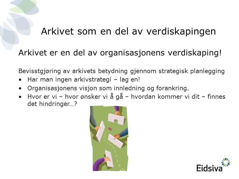 Arkivet som en del av verdiskapingen Arkivet er en del av organisasjonens verdiskaping.