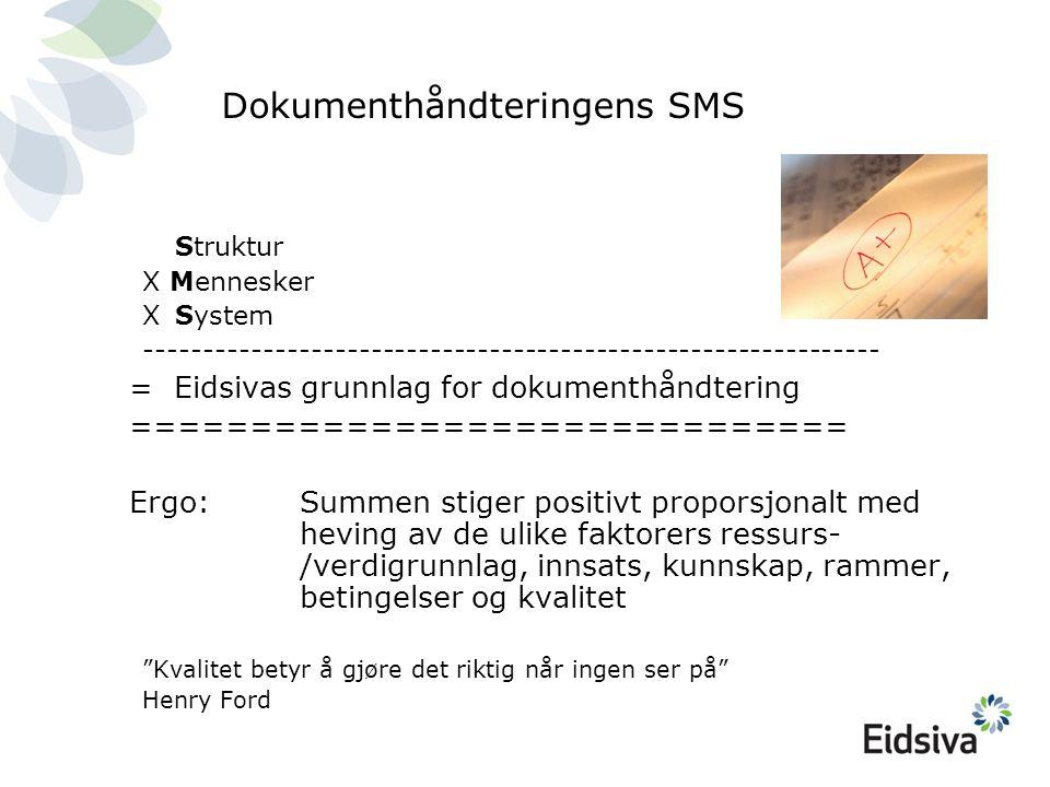 Dokumenthåndteringens SMS Struktur X Mennesker X System -------------------------------------------------------------- = Eidsivas grunnlag for dokumenthåndtering ============================== Ergo: Summen stiger positivt proporsjonalt med heving av de ulike faktorers ressurs- /verdigrunnlag, innsats, kunnskap, rammer, betingelser og kvalitet Kvalitet betyr å gjøre det riktig når ingen ser på Henry Ford