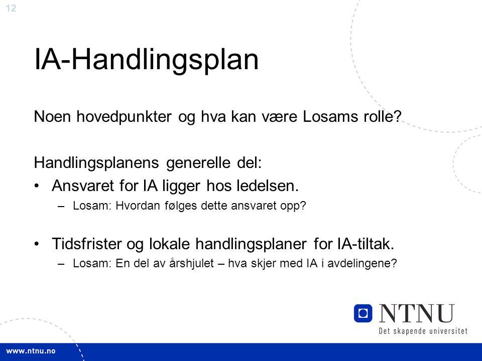 12 IA-Handlingsplan Noen hovedpunkter og hva kan være Losams rolle.