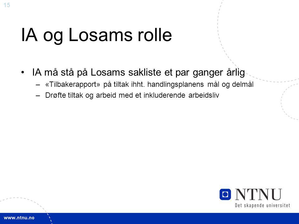 15 IA og Losams rolle IA må stå på Losams sakliste et par ganger årlig –«Tilbakerapport» på tiltak ihht.