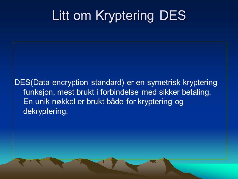 Litt om Kryptering DES DES(Data encryption standard) er en symetrisk kryptering funksjon, mest brukt i forbindelse med sikker betaling.