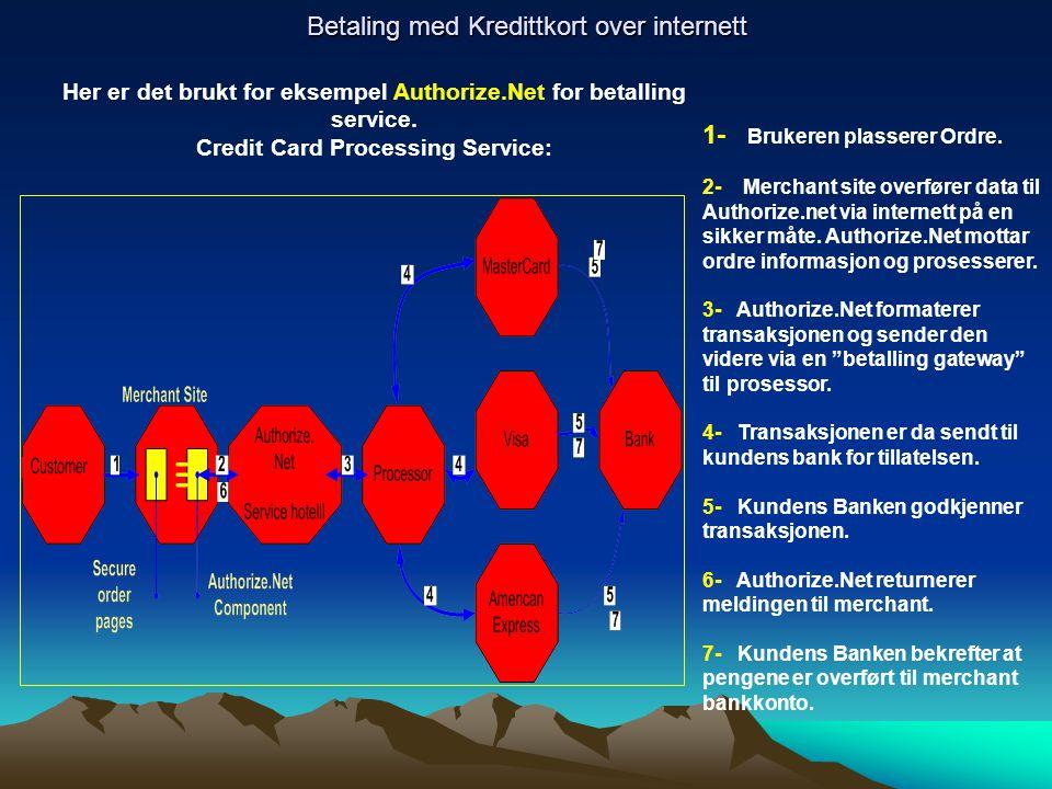 Betaling med Kredittkort over internett Her er det brukt for eksempel Authorize.Net for betalling service. Credit Card Processing Service: 1- Brukeren
