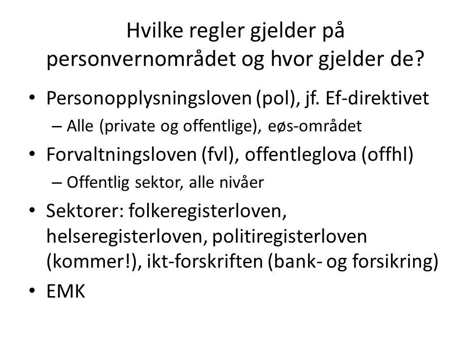 Hvilke regler gjelder på personvernområdet og hvor gjelder de.