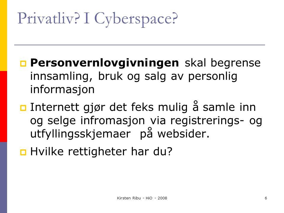 Kirsten Ribu - HiO - 20086 Privatliv. I Cyberspace.