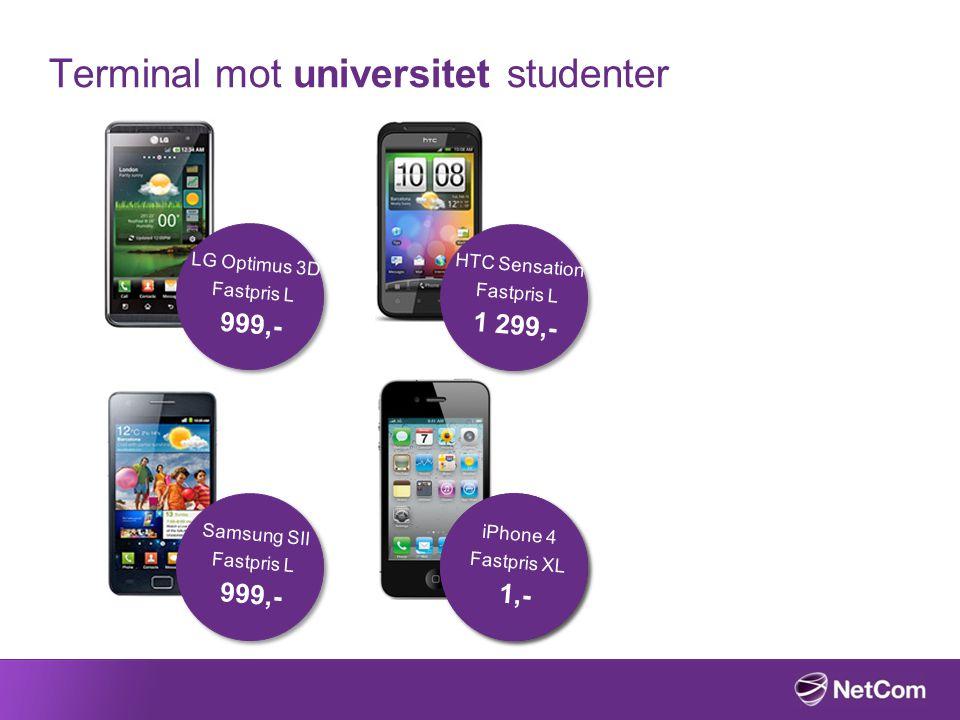 Terminal mot universitet studenter LG Optimus 3D Fastpris L 999,- HTC Sensation Fastpris L 1 299,- Samsung SII Fastpris L 999,- iPhone 4 Fastpris XL 1,- iPhone 4 Fastpris XL 1,-