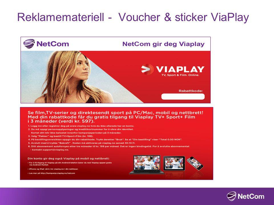 Reklamemateriell - Voucher & sticker ViaPlay