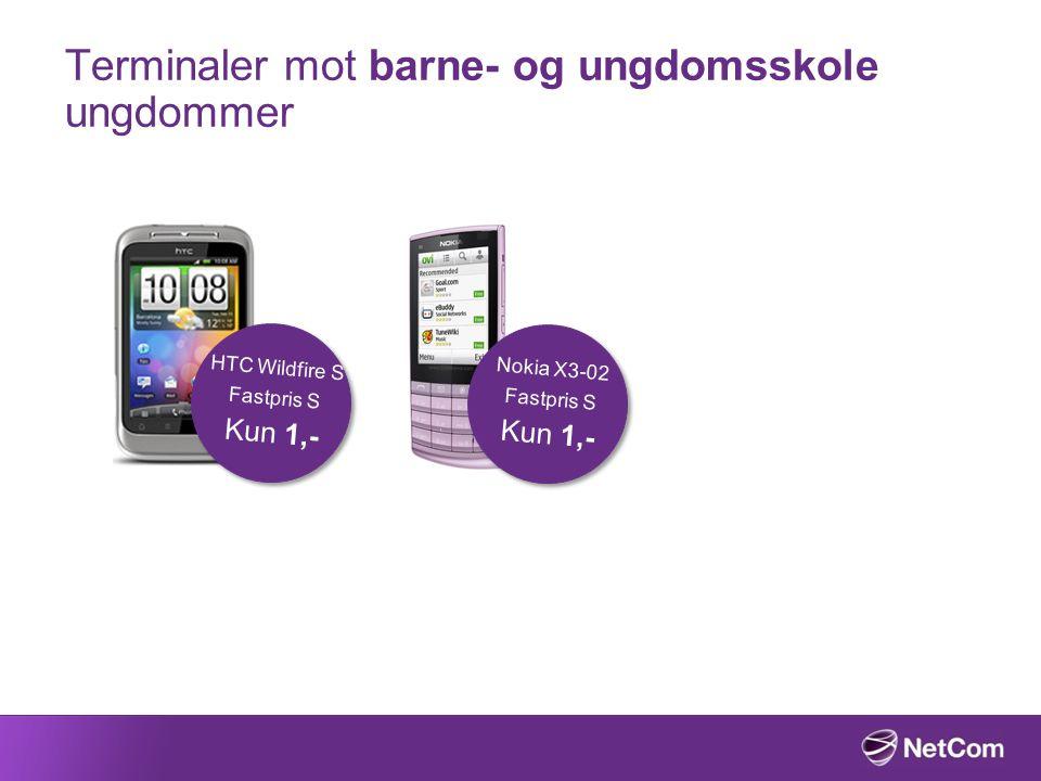 Terminaler mot barne- og ungdomsskole ungdommer HTC Wildfire S Fastpris S Kun 1,- Nokia X3-02 Fastpris S Kun 1,-