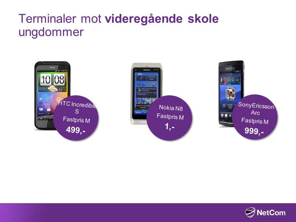 Terminaler mot videregående skole ungdommer Nokia N8 Fastpris M 1,- HTC Incredible S Fastpris M 499,- SonyEricsson Arc Fastpris M 999,-