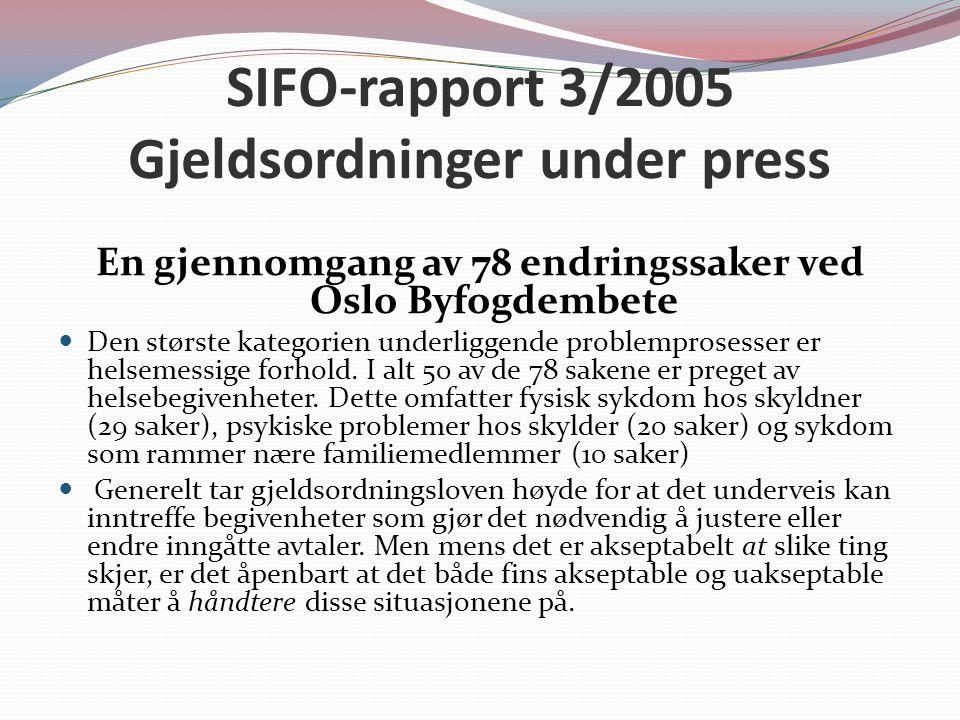 SIFO-rapport 3/2005 Gjeldsordninger under press En gjennomgang av 78 endringssaker ved Oslo Byfogdembete Den største kategorien underliggende problemprosesser er helsemessige forhold.