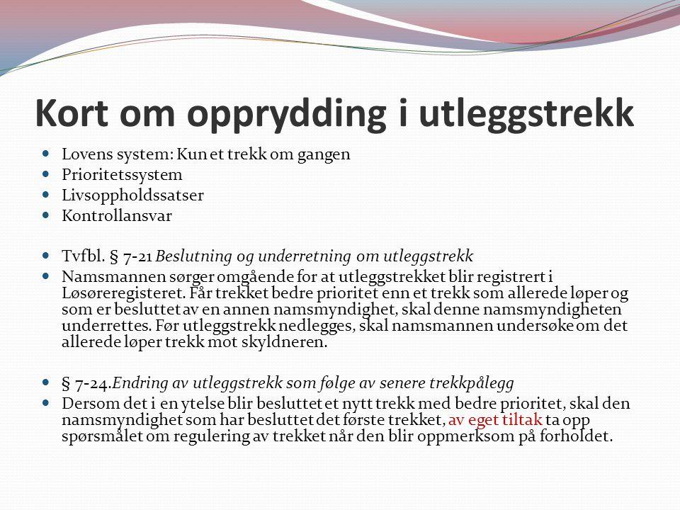 Kort om opprydding i utleggstrekk Lovens system: Kun et trekk om gangen Prioritetssystem Livsoppholdssatser Kontrollansvar Tvfbl.